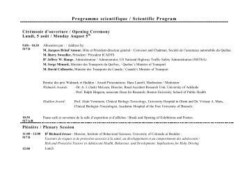 Programme scientifique / Scientific Program - Société de l'assurance ...