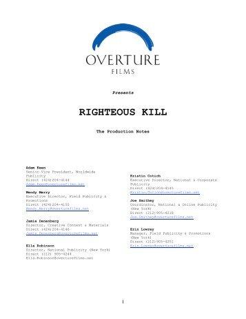 RIGHTEOUS KILL - Visual Hollywood