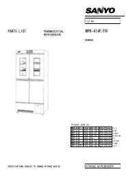 Part List MPR-414F-PE - Panasonic Biomedical