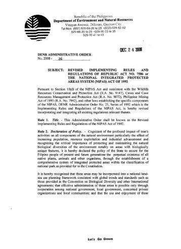 DENR Administrative Order No. 2008-26 - Oneocean.org