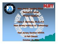 New Jersey Applied Water Research Center Project Updates Taha F ...