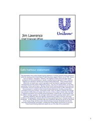 Introduction, Jim Lawrence Chief Financial - Unilever