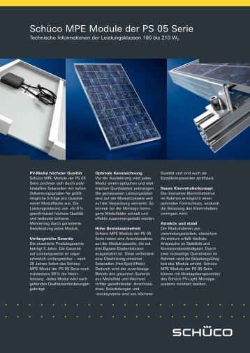 Typenblatt Schüco Photovoltaikmodul MPE PS05- 42er ... - Startec