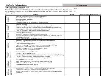 Self-Assessment Summary Tool