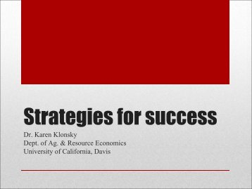 Strategies for success - University of California Small Farm Program