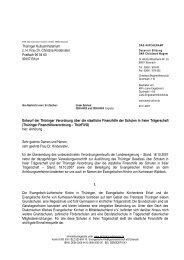 Thüringer Kultusministerium z. H. Frau Dr. Christina Kindervater ...