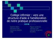 Collège infirmier : vers une structure d'aide à l'amélioration de notre ...