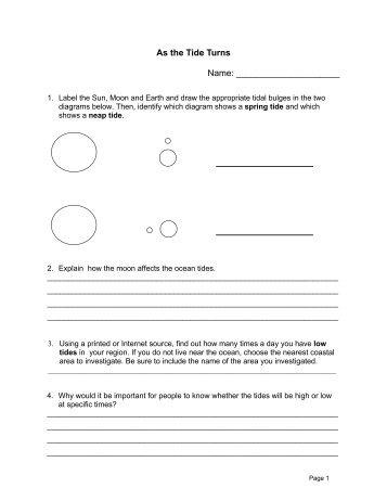 Science Minutes Activity: 6 Tides Worksheet( 82K PDF)