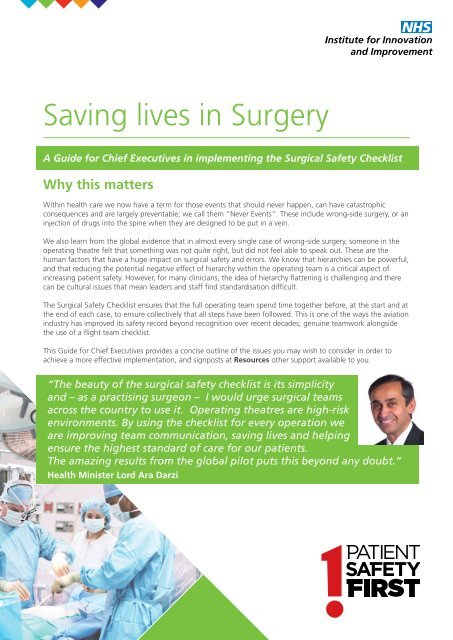 Saving lives in Surgery - Clinical Human Factors Group