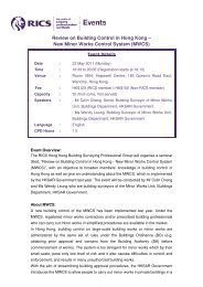 Review on Building Control in Hong Kong – New Minor ... - RICS ASIA