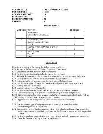 COURSE TITLE : AUTOMOBILE CHASSIS COURSE CODE : 4032 ...