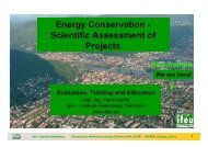 Energy Conservation - Scientific Assessment of Projects
