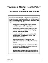 A Mental Health Policy for Ontario's Children and Youth - Children's ...