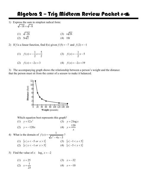 Algebra 2 – Trig Midterm Review Packet#4
