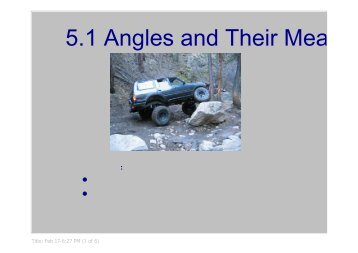 5.1 Angles and Their Measure