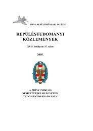Repüléstudományi Közlemények 2005. 1. szám - NKE Katonai ...