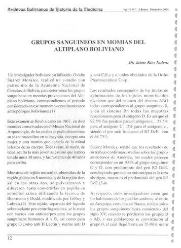 GRUPOS SANGUINEOS EN MOMIAS DEL ALTIPLANO BOLIVIANO