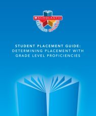 student placement guide - Scholastic Education Product Support
