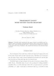 PROBABILITY LOGICS WITH VECTOR–VALUED MEASURES ...