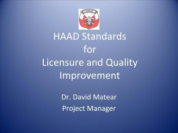 HAAD Standards For Licensure And Quality Improvement