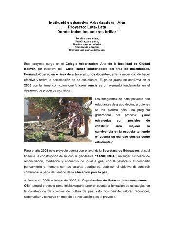 Institución educativa Arborizadora –Alta Proyecto: Lata ... - Maloka