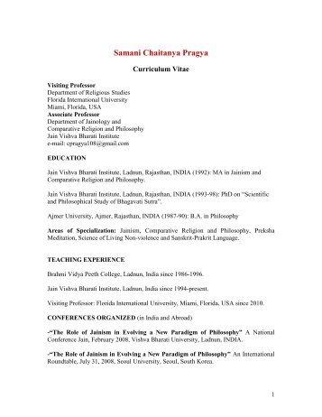 Samani Chaitanya Pragya - Department of Religious Studies ...