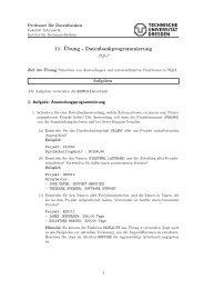 11. ¨Ubung - Datenbankprogrammierung - Datenbanken