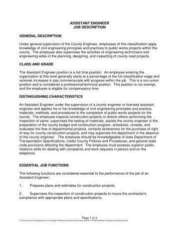 ASSISTANT ENGINEER JOB DESCRIPTION ...   Cedar County