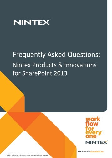 Frequently Asked Questions: Nintex