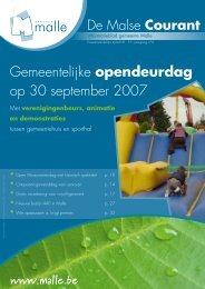 Gemeentelijke opendeurdag op 30 september 2007 - Gemeente Malle