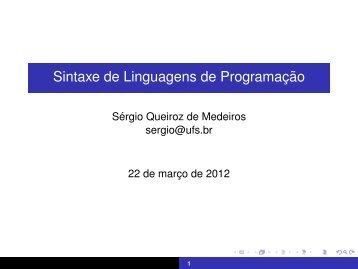 Sintaxe de Linguagens de Programação - UFS