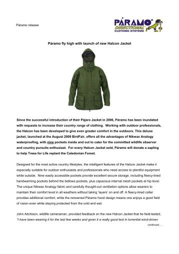 Páramo fly high with launch of new Halcon Jacket - Paramo