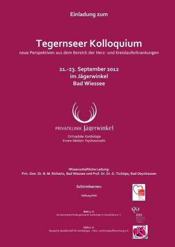 Einladung zum Tegernseer Kolloquium