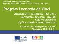 Zarządzanie finansami - Leonardo da Vinci