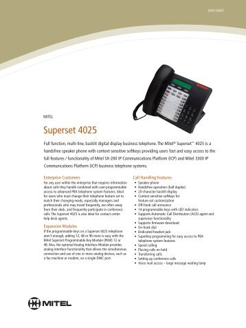 Mitel Superset 4025 Data Sheet - Ash Telecom
