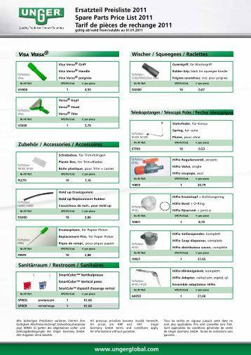 Ersatzteil Preisliste 2011 Spare Parts Price List 2011 Tarif ... - Unger