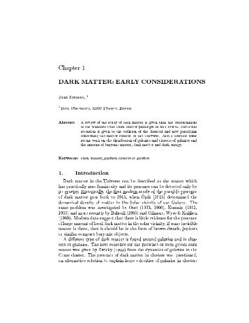 Chapter DARK MATTER: EARLY ... - Tartu Observatory
