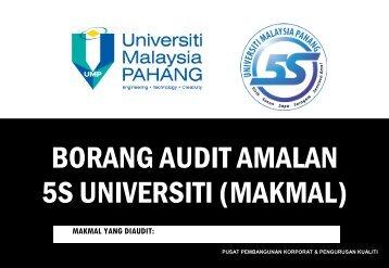 BORANG AUDIT AMALAN 5S - Universiti Malaysia Pahang