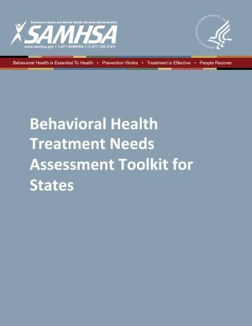 Behavioral Health Treatment Needs Assessment Toolkit for States