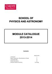 Module Catalogue - Cardiff School of Physics and Astronomy ...