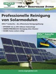 Professionelle Reinigung von Solarmodulen - Unger