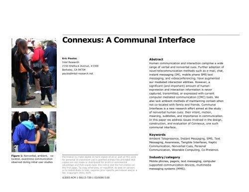 Connexus: A Communal Interface - Eric Paulos