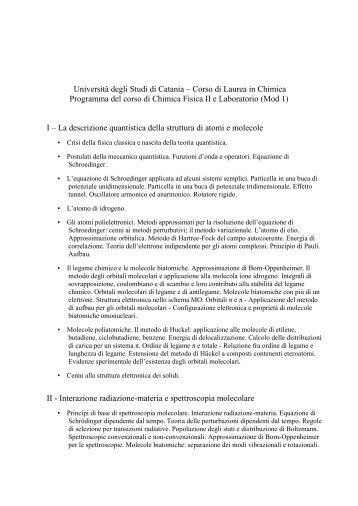 Chimica Fisica II e Laboratorio Mod.1 - Università degli Studi di ...