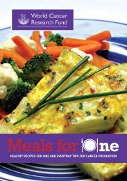 Meals for One - World Cancer Research Fund