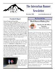 2008 November Newsletter - Interurban Runners Club