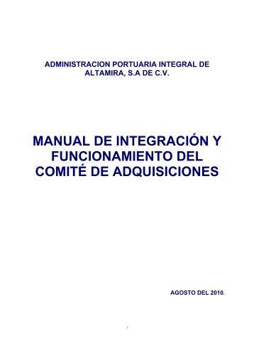 manual de integración y funcionamiento del comité de adquisiciones
