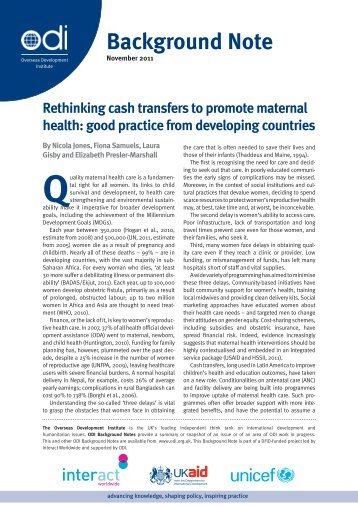 Rethinking cash transfers to promote maternal health