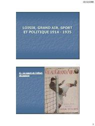loisir, grand air, sport et politique 1914 - 1935 - l'UFR Staps