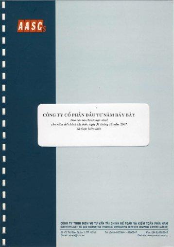 NBB: Báo cáo tài chính kiểm toán năm 2007 - SJCS