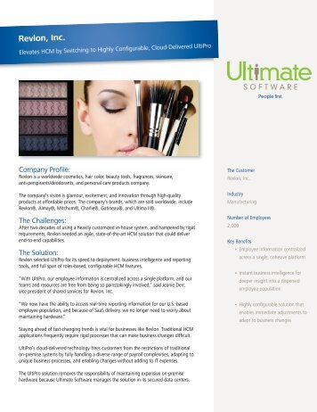 Revlon, Inc. - Ultimate Software